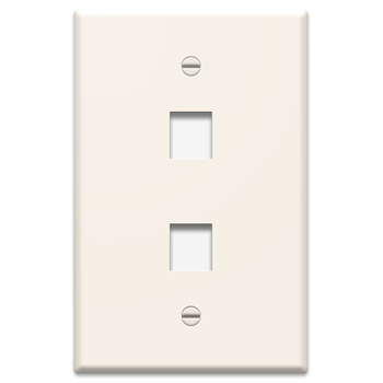 1-Gang, 2-Port Oversized Wall Plate, Light Almond