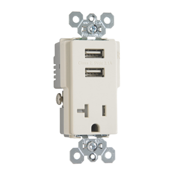 Fed Spec Grade USB Chargers w/ Tamper-Resistant 20A Receptacle, Light Almond