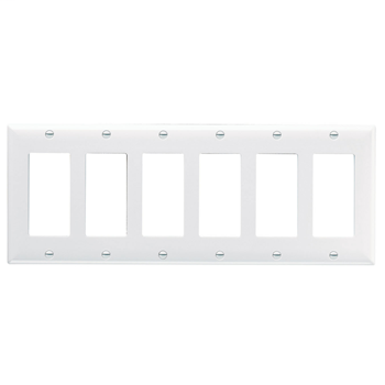Pass & Seymour SP266-W 6-Gang 6-Decorator White Smooth Thermoset Plastic Standard Wallplate