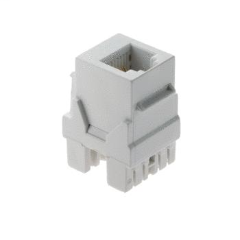 On-Q WP3425-WH RJ25 6-Position 6-Wire White Plastic Snap-In Keystone Connector