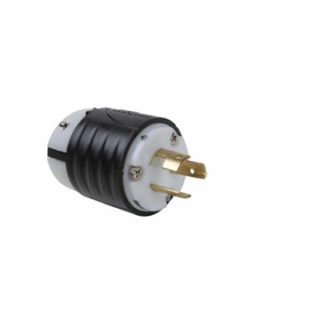 Non-NEMA 3 Wire Plug - Black Back, White Front Body
