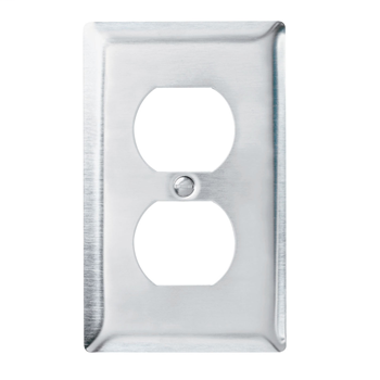 Pass & Seymour SS8 1-Gang 1-Duplex Receptacle Smooth Brushed Stainless Steel Standard Wallplate
