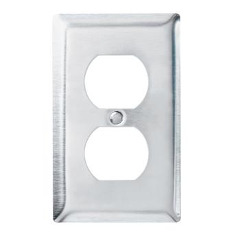 Pass & Seymour SS8 1Gang Wall Plate, Duplex, Standard - 302/304 Stainless Steel