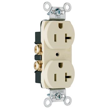 Construction Spec Grade Smooth Face Receptacles, Back & Side Wire, 20A, 125V, Ivory