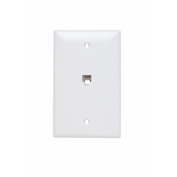 Pass & Seymour TPTE1-W Single Gang Opening Modular Four Conductor Telephone Jack With Wall Plate, White