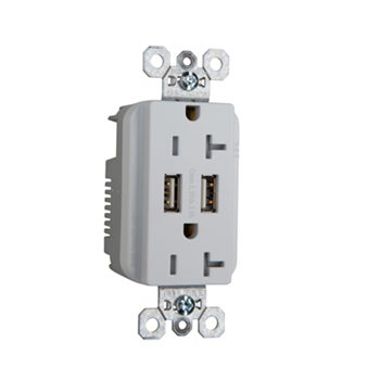 Fed Spec Grade USB Charger w/ Tamper-Resistant 20A Duplex Receptacles, White