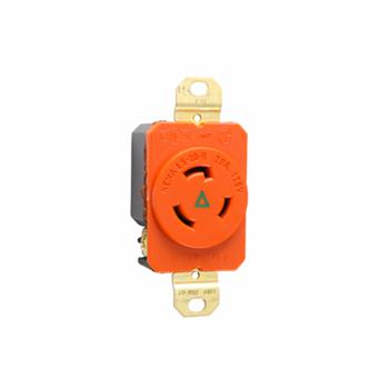 Pass & Seymour IGL520-R 20 Amp 125 VAC 2-Pole 3-Wire NEMA L5-20R Orange Nylon Single Isolated Ground Receptacle