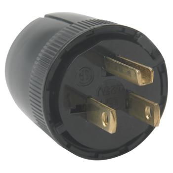 Pass & Seymour 5276-BK 15 Amp 125 VAC 2-Pole 3-Wire NEMA 5-15P Black Nylon Dead Front Polarized Straight Blade Plug