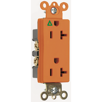 Mayer-Isolated Ground Heavy-Duty Decorator Spec Grade Receptacles, Back & Side Wire, 20A, 125V, Orange IG26362-1