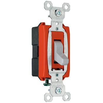 Pass & Seymour CSB20AC1-GRY 20 Amp 120/277 VAC 1-Pole Gray Glass Reinforced Nylon Screw Mounting Toggle Switch