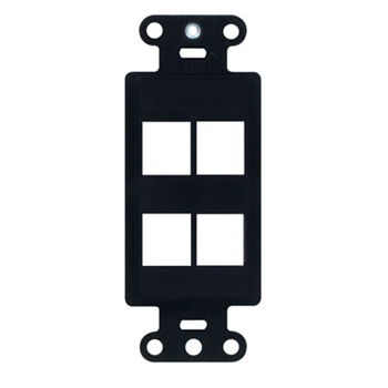 "On-Q WP3414-BK 1.65 x 0.28 x 4.19"" 4-Port Black Plastic Wall Box Mounting Non-Flexible Outlet Strap"