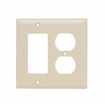 Pass & Seymour TP826-I 2-Gang 1-Duplex Receptacle 1-Decorator Ivory Nylon Standard Combination Unbreakable Wallplate