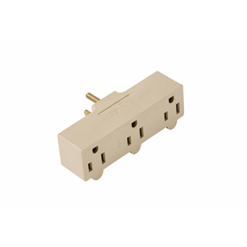 Mayer-15A/125V Rubber Plug-in Adapter, 2 Pole, 3 Wire, Ivory 697RI-1
