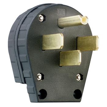 Pass & Seymour 3867 30/50 Amp 125/250 VAC 3-Pole 4-Wire NEMA 14-30P/14-50P Black Grounding Angled Straight Blade Plug