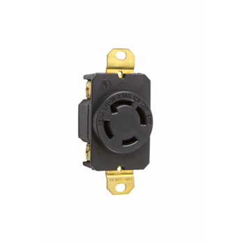 Pass & Seymour L1830-R 30 Amp 120/208 VAC 3-Phase 4-Pole 4-Wire NEMA L18-30R Impact-Resistant Nylon Locking Single Receptacle