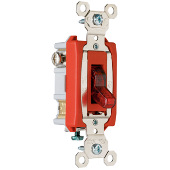 Mayer-Industrial Extra Heavy-Duty Specification Grade Switch, Lighted When On, Back & Side Wire, Red PS20AC1RPL7-1
