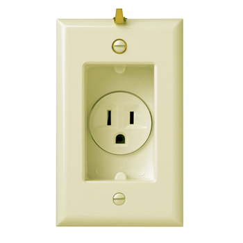 Mayer-Clock Hanger Receptacles, Recessed with Smooth Wall Plate, 15A, 125V, Ivory S3713I-1