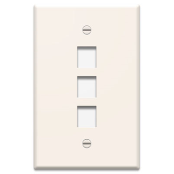PASS & SEYMOUR 1-Gang, 3-Port Wall Plate, Light Almond WP3403-LA
