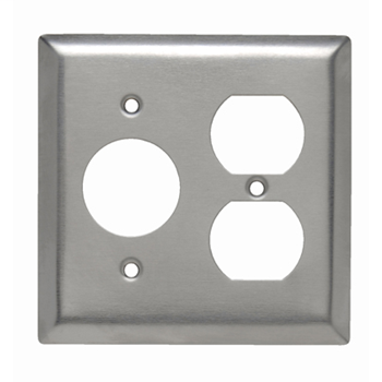 Pass & Seymour SS78 2-Gang 1-Single 1-Duplex Receptacle Smooth Brushed Stainless Steel Standard Combination Wallplate