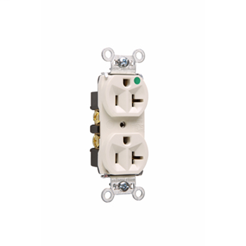 Pass & Seymour 8300-HLA 20 Amp 125 VAC 2-Pole 3-Wire NEMA 5-20R Light Almond Nylon Face PVC Back Body Compact Duplex Receptacle