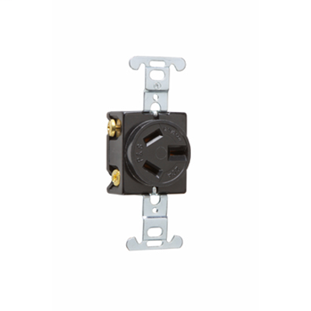 Pass & Seymour 6810 20 Amp 125/250 VAC 3-Pole 3-Wire NEMA 10-20R Black Straight Blade Single Receptacle