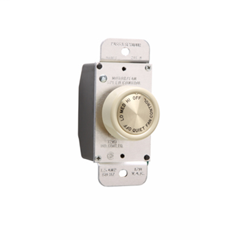 Pass & Seymour 94003-I Rotary 1.5Amp 3Speed De-Hummer Fan Speed Control, Ivory
