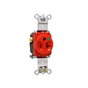 Pass & Seymour 8301-RED 20 Amp 125 VAC 2-Pole 3-Wire NEMA 5-20R Red Nylon Face Thermoplastic Back Body Single Receptacle