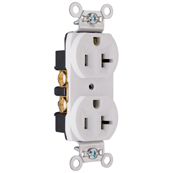 Construction Spec Grade Receptacles, Back & Side Wire, 20A, 125V, White CRB5362W