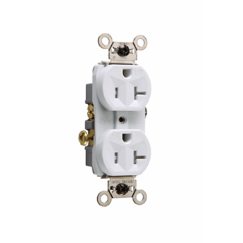Pass & Seymour WR20-TRW White Weather Resistant Commercial Grade Receptacle