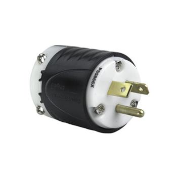 Pass & Seymour PS5866-X 20 Amp 277 VAC 2-Pole 3-Wire NEMA 7-20P Black and White Nylon Angled Polarized Straight Blade Plug