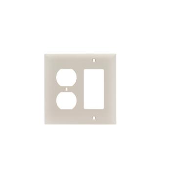 Pass & Seymour TP826-LA 2-Gang 1-Duplex Receptacle 1-Decorator Light Almond Nylon Standard Combination Unbreakable Wallplate