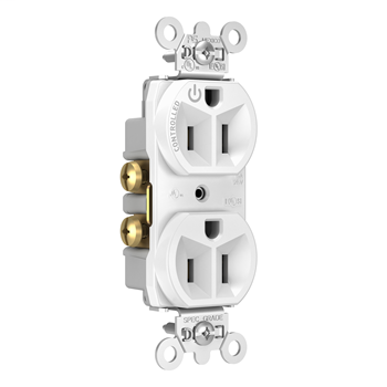 Mayer-15A, 125V Half-Controlled Plug Load Controllable Receptacle, White 5262CHW-1