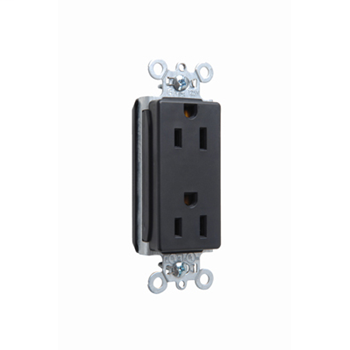 Pass & Seymour PT26252-BK 15 Amp 125 VAC 2-Pole 3-Wire NEMA 5-15R Black Nylon Face Duplex Decorator Receptacle