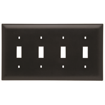 Pass & Seymour TP4-BK 4-Gang 4-Toggle Switch Black Nylon Standard Unbreakable Wallplate