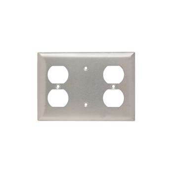 Pass & Seymour SS8148 302/304 Stainless Steel 1 Blank and 1 Duplex Receptacle Combination Wall Plate