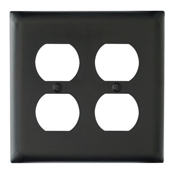 Pass & Seymour TP82-BK 2-Gang 2-Duplex Receptacle Black Nylon Standard Unbreakable Wallplate