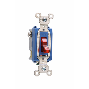 Pass & Seymour PS15AC1-RPL 15 Amp 120 VAC 1-Pole Red Glass Reinforced Nylon Screw Mounting Pilot Lighted Toggle Switch