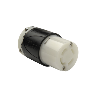 Pass & Seymour L1830-C 30 Amp 120/208 VAC Star 3-Phase 4-Pole 4-Wire L18-30R Black and White Nylon Locking Connector