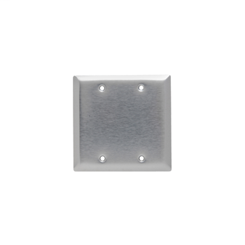 Pass & Seymour SL23 2-Gang Blank Smooth Brushed 430 Stainless Steel Standard Wallplate