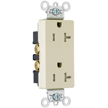 Pass & Seymour TR26362-GRY 20 Amp 125 VAC 2-Pole 3-Wire NEMA 5-20R Gray Nylon Tamper-Resistant Duplex Receptacle