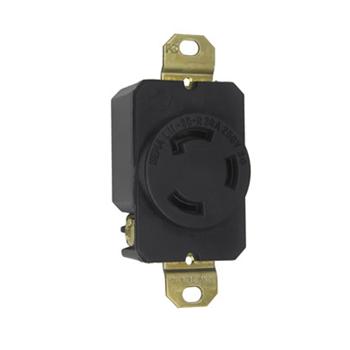 Pass & Seymour L1130-R 30 Amp 250 VAC 3-Phase 3-Pole 3-Wire NEMA L11-30R Impact-Resistant Nylon Locking Single Receptacle