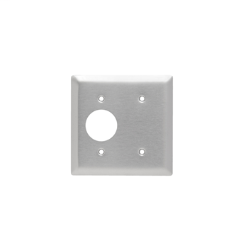 Pass & Seymour SS147 2Gang Wall Plate, Blank / Single Receptacle, Standard - 302/304 Stainless Steel