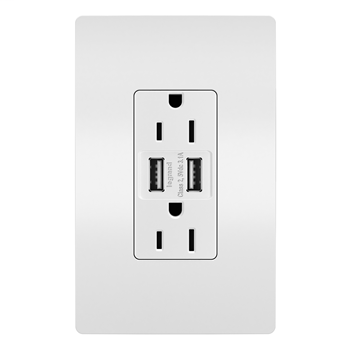 Mayer-USB Chargers with Duplex 15A Tamper-Resistant Outlets, White TM826USBW-1