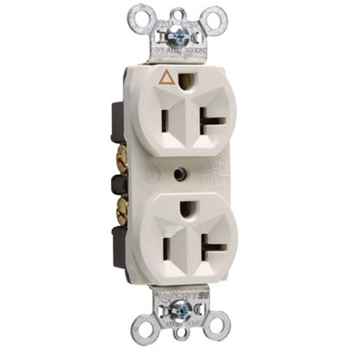 Pass & Seymour IG5362-LA 20 Amp 125 VAC 2-Pole 3-Wire NEMA 5-20R Light Almond Nylon Face Duplex Isolated Ground Receptacle
