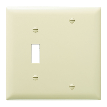 Pass & Seymour TP113-I 2-Gang 1-Toggle 1-Blank Ivory Nylon Standard Combination Unbreakable Wallplate
