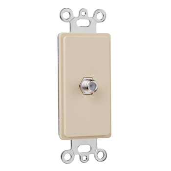 Pass & Seymour 26CATV-I Single Gang Decorator With F Type Coaxial Connector, Ivory.