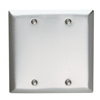 Pass & Seymour SS23 2-Gang Blank Smooth Brushed Stainless Steel Standard Wallplate