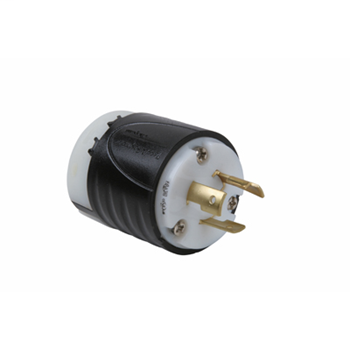 Pass & Seymour L620-P 20 Amp 250 VAC 2-Pole 3-Wire NEMA L6-20P Black and White Nylon Straight Locking Plug