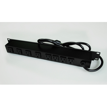 Plug-In Outlet Center Unit / Rack Mount 120V/15A/8 rear O/L /lighted switch/15' cord/Computer Grade Surge R8BZ-15