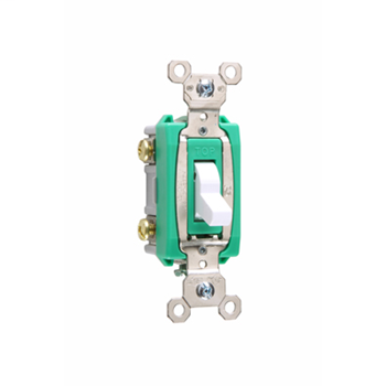 Pass & Seymour PS30AC2-W 30 Amp 120/277 VAC 2-Pole White Glass Reinforced Nylon Screw Mounting Toggle Switch